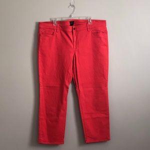 Ann Taylor Red/Orange Cropped Jeans